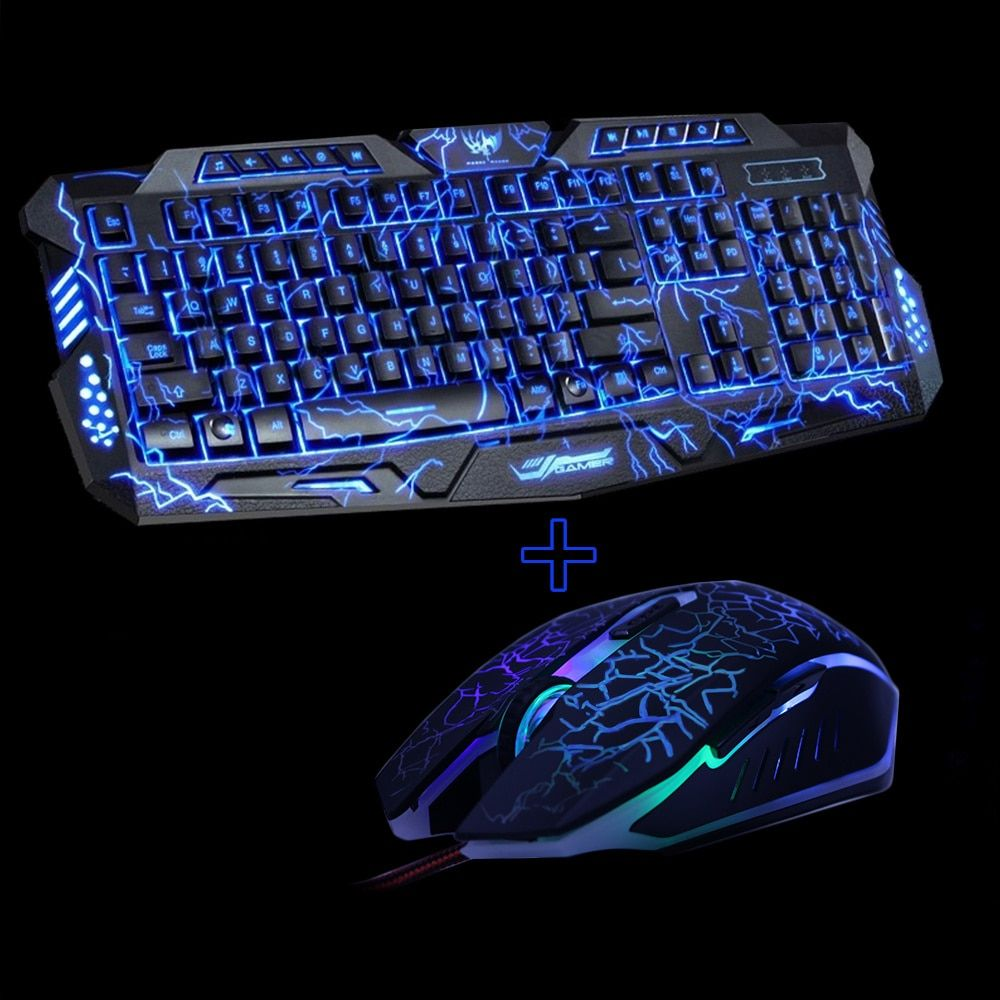 M200 Purple/Blue/Red LED Breathing Backlight Pro Gaming Keyboard Mouse Combos USB Wired Full <font><b>Key</b></font> Professional Mouse Keyboard