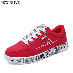 HZXINLIVE 2018 Fashion Women Vulcanized Shoes Sneakers Ladies Lace-up Casual Shoes Breathable Walking Canvas Shoes Graffiti Flat