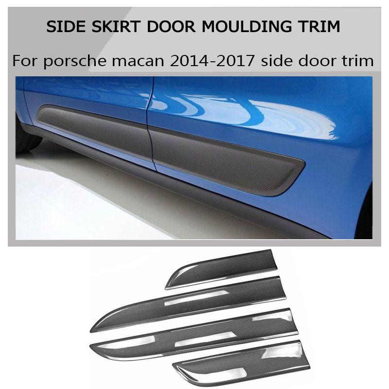 100% Carbon Fiber exterior tuning side skirt door moulding trim kit for Porsche Macan 2014-2017 car styling