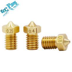 5 pcs/lot V5 V6 Buse 0.2 0.25 0.3mm 0.35 0.4mm 0.5 0.6 0.8 1.0 Partie De Cuivre 1.75mm Filament M6 Fileté En Laiton 3D Imprimantes pièces