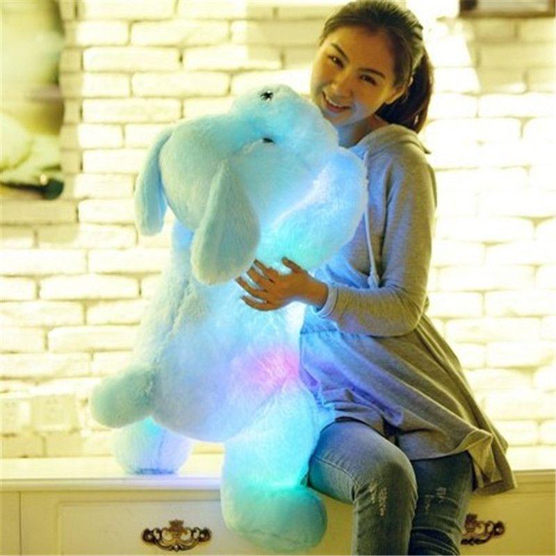 1 unid 50 cm muñeca de La felpa del perro brillantes coloridos LED niños juguetes para regalo de cumpleaños del Kidz de la muchacha libre libre WJ445