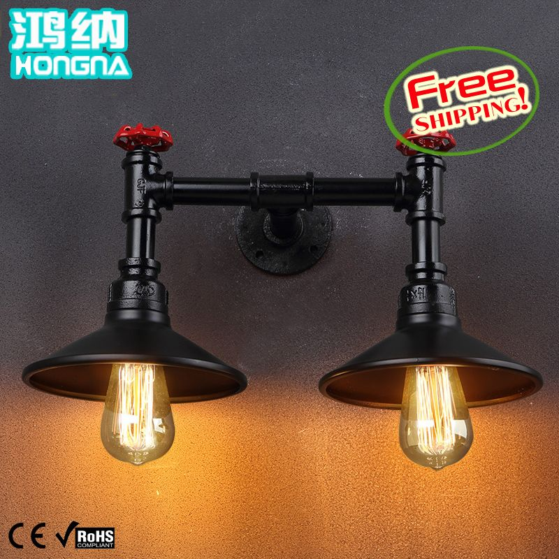 American vintage double slider water pipe wall lamp ofhead small personalized wall lamp