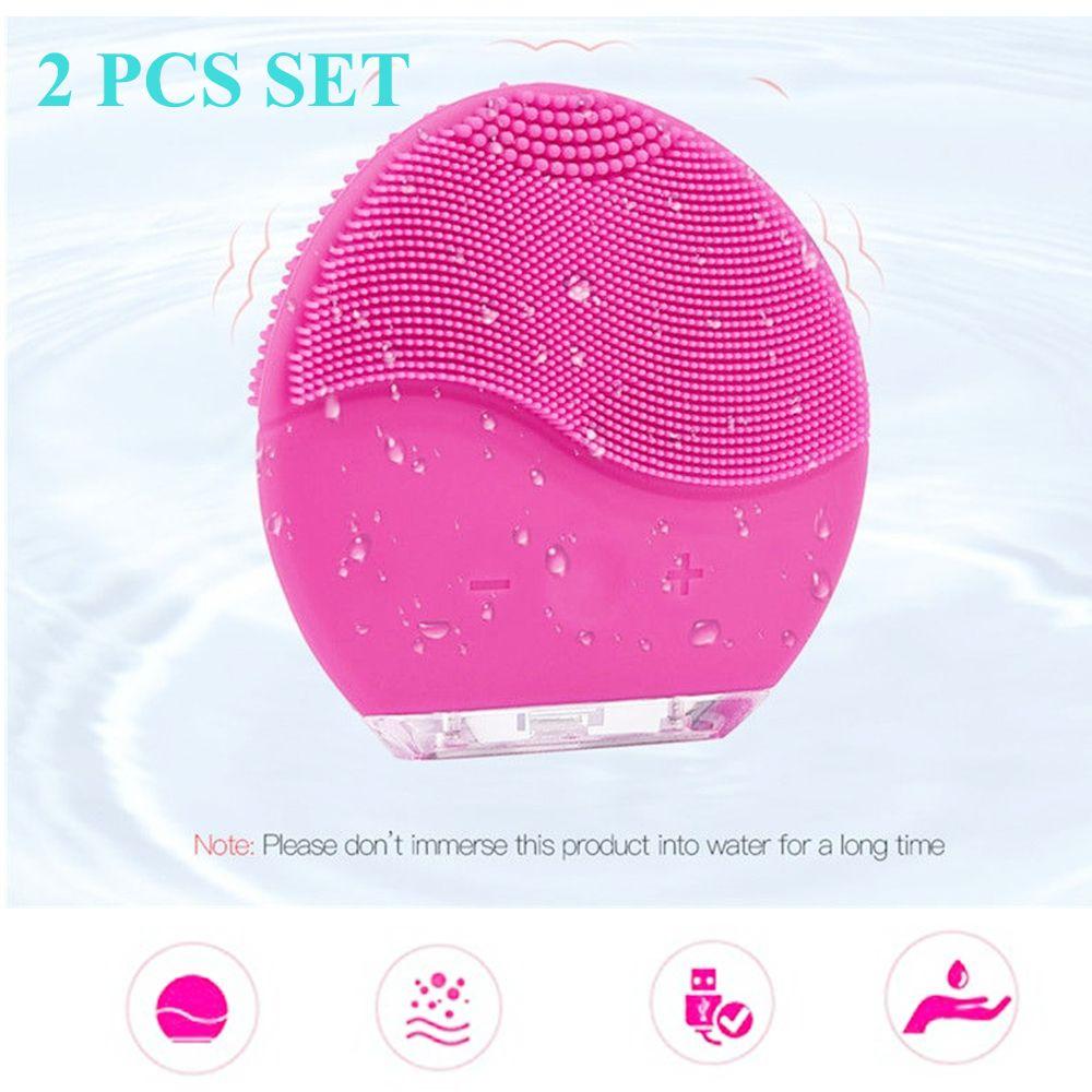 2 pièces 2019 ultrasons épurateur de peau USB Charge Mini visage brosse de nettoyage électrique brosse de lavage nettoyage en profondeur Machine de Massage