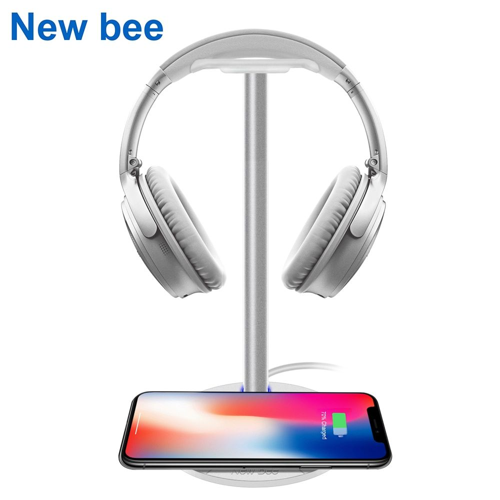 New Bee Fashion Headphone Wireless Charging Stand Holder Headphone Stand Holder for Samsung Galaxy S7/S7Edge/S6/S6Edge HTC White
