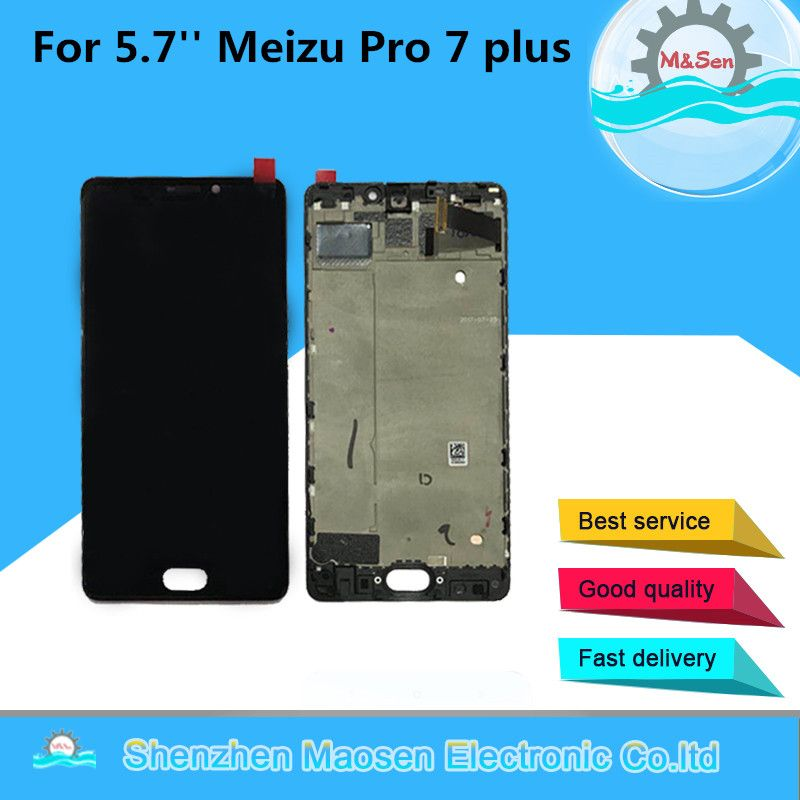 M&Sen For 5.7'' Meizu pro 7 Plus LCD display screen+ Touch panel Digitizer with frame white/Black Free shipping