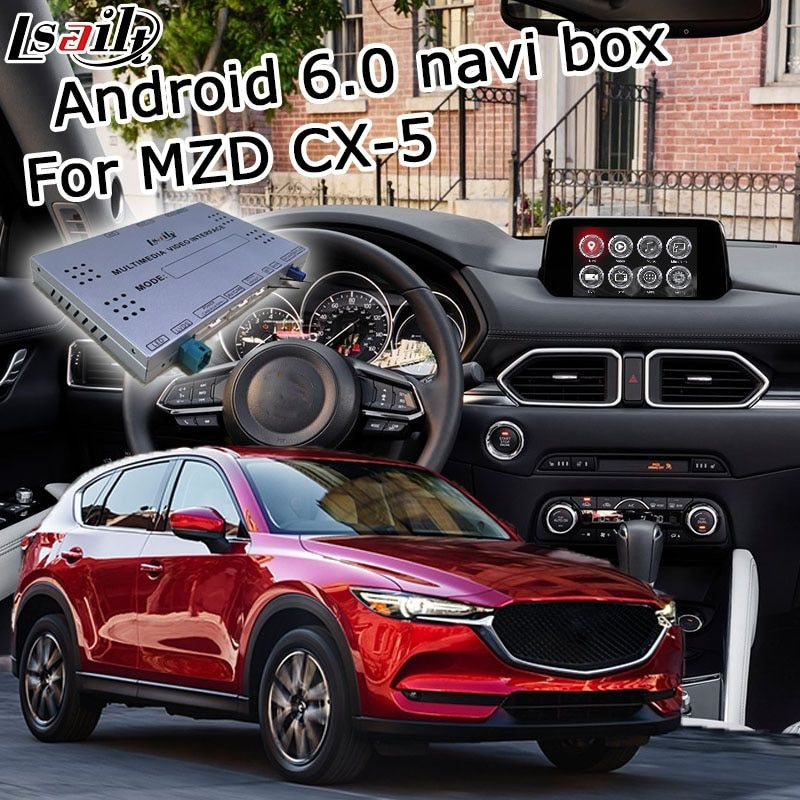 Android 6.0 GPS navigation box for new Mazda CX-5 video interface box with Carplay mirror link youtube google play waze yandex