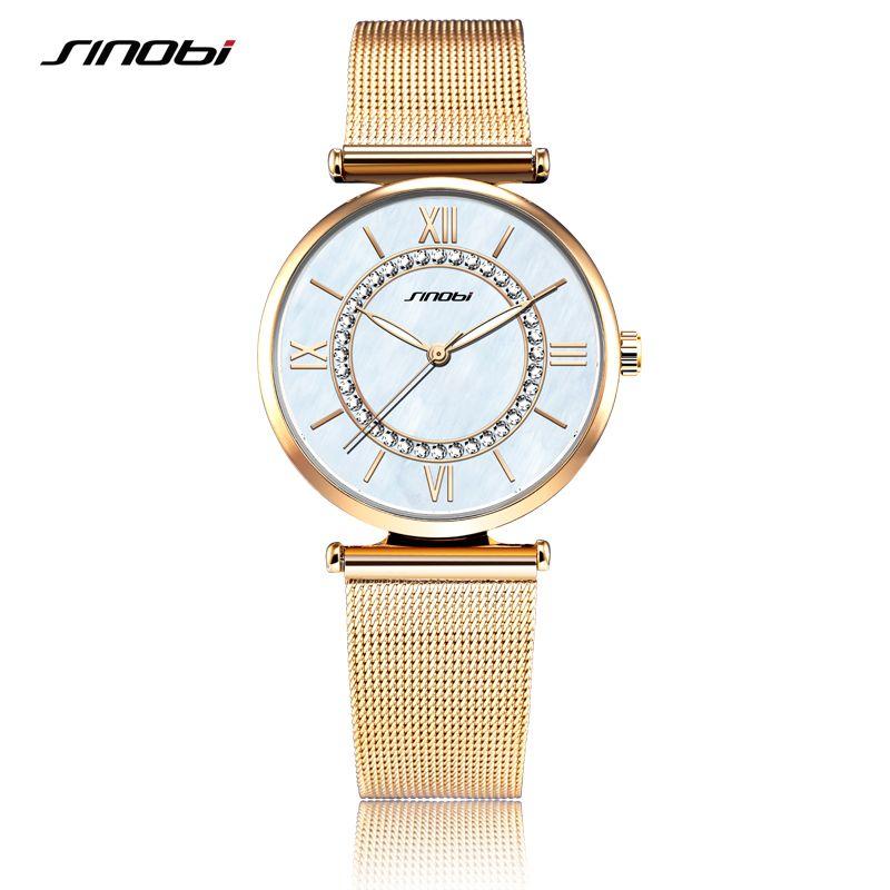 SINOBI Fashion Golden Women's Diamonds Wrist Watches Top Luxury Brand Ladies <font><b>Geneva</b></font> Quartz Clock Female Bracelet Wristwatch 2017