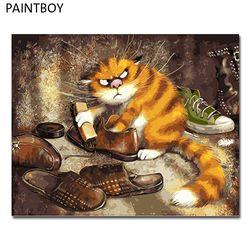 PAINTBOY Подставил Картинки Живопись по номерам животных ручной работы холст масло домашнего декора для Гостиная GX3221