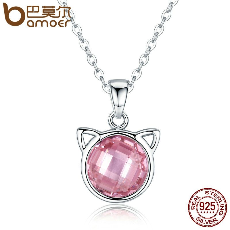 BAMOER Genuine 925 Sterling Silver Cute Cat Pendant Necklaces with Pink Zircon for Women Animal Jewelry SCN083