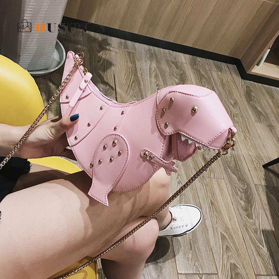 DUSUN Rivet personnalité dinosaure Design mode cuir bandoulière Mini sac Messenger femmes chaîne sac à main femme sac à bandoulière cadeau