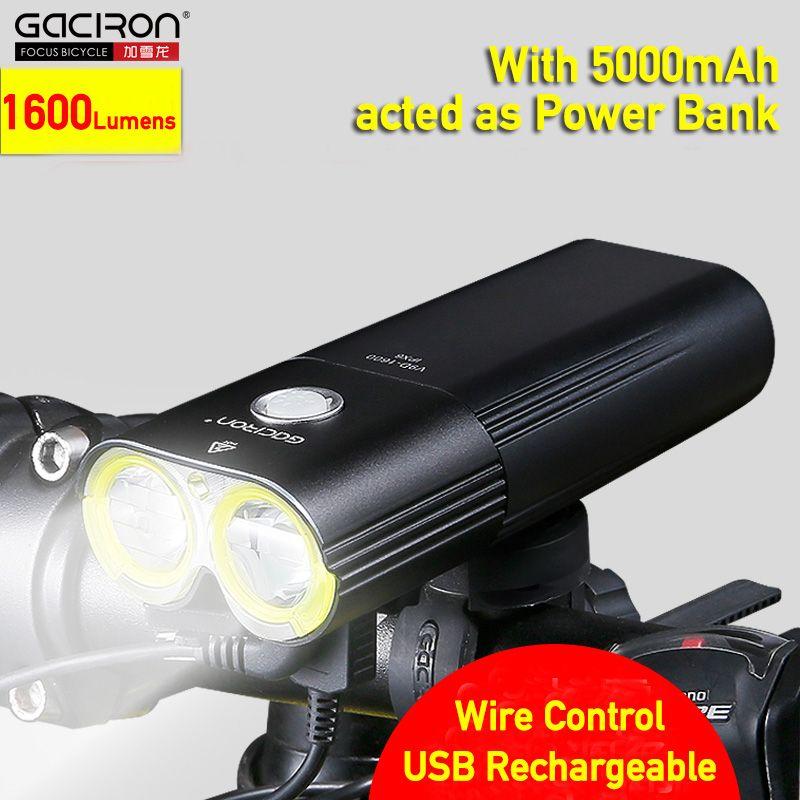 GACIRON 1600LM MTB Bike Front Light Cycling Headlight USB Rechargeable Flashlight for Bicycle Waterproof LED Head Lamp 5000mAh