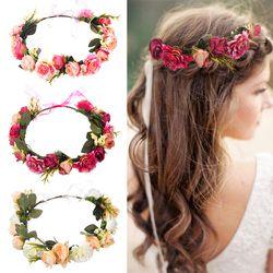 M L'MISME Mariée Femmes Fleur Couronne Bande De Cheveux De Mariage Floral Bandeau Garland Ruban Arc Fille Couronne De Fleurs Élastique Cheveux Accessoires