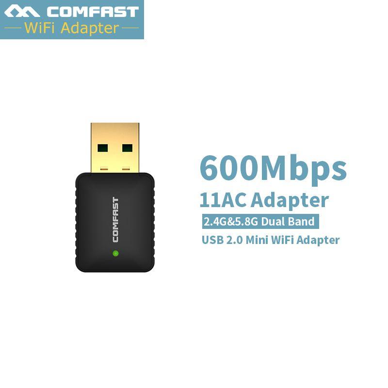 2017 Nouveau! 600 M AC USB 5 GHZ 2.4 Ghz Sans Fil Adaptateur MINI-AC600 Double Bande 802.11AC Antenne Wifi Adaptateur Comfast Réseau Wi-fi LAN Carte