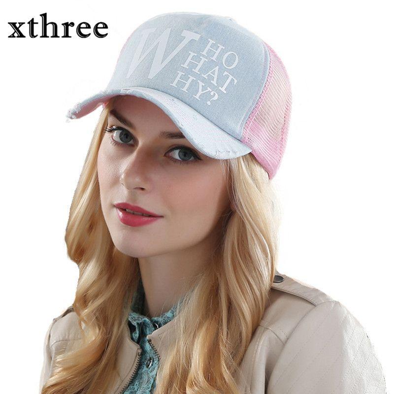 Xthree sommer weibliche baseball-kappen frau hysteresenhut denim mesh cap casquette knochen hüte für frauen männer