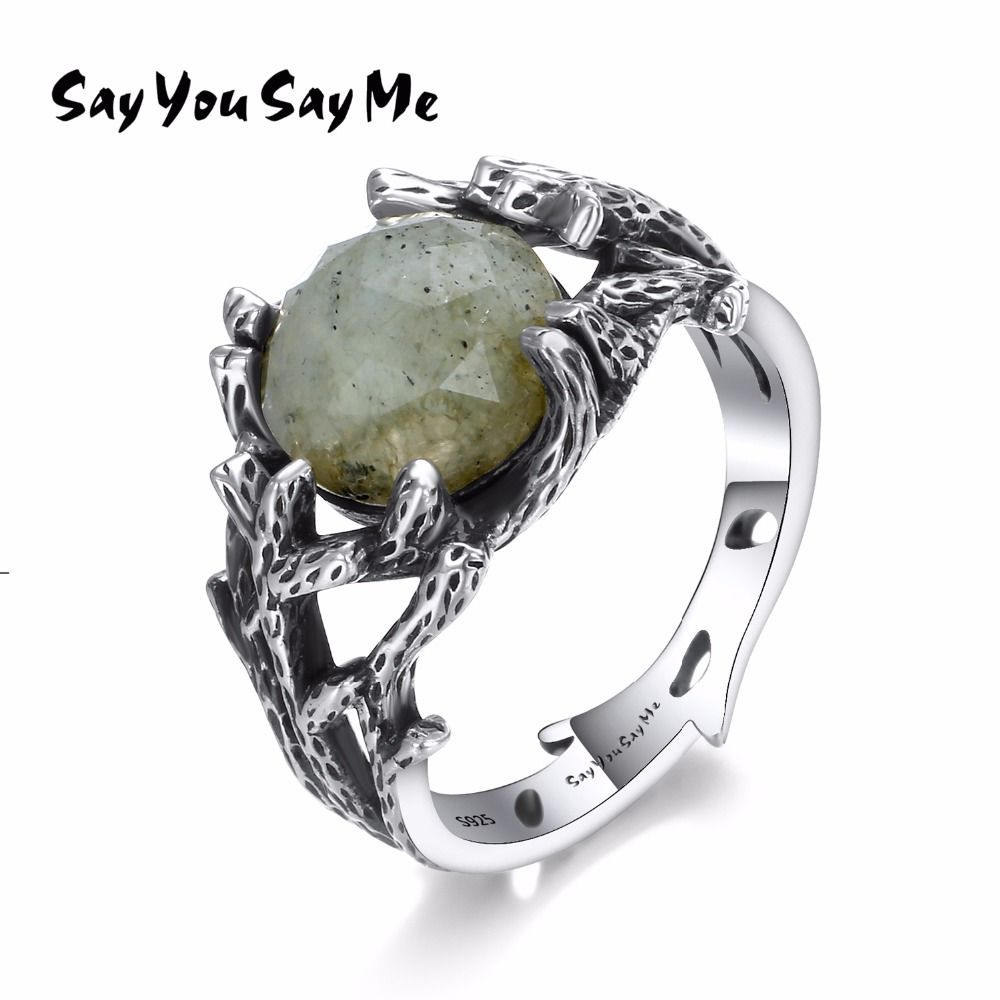 Say You Say Me 925 Sterling Silver Natural Stone Rings Wedding&Engagement Jewelry Plants Ring Silver 2018 Fashion Jewelry Gifts
