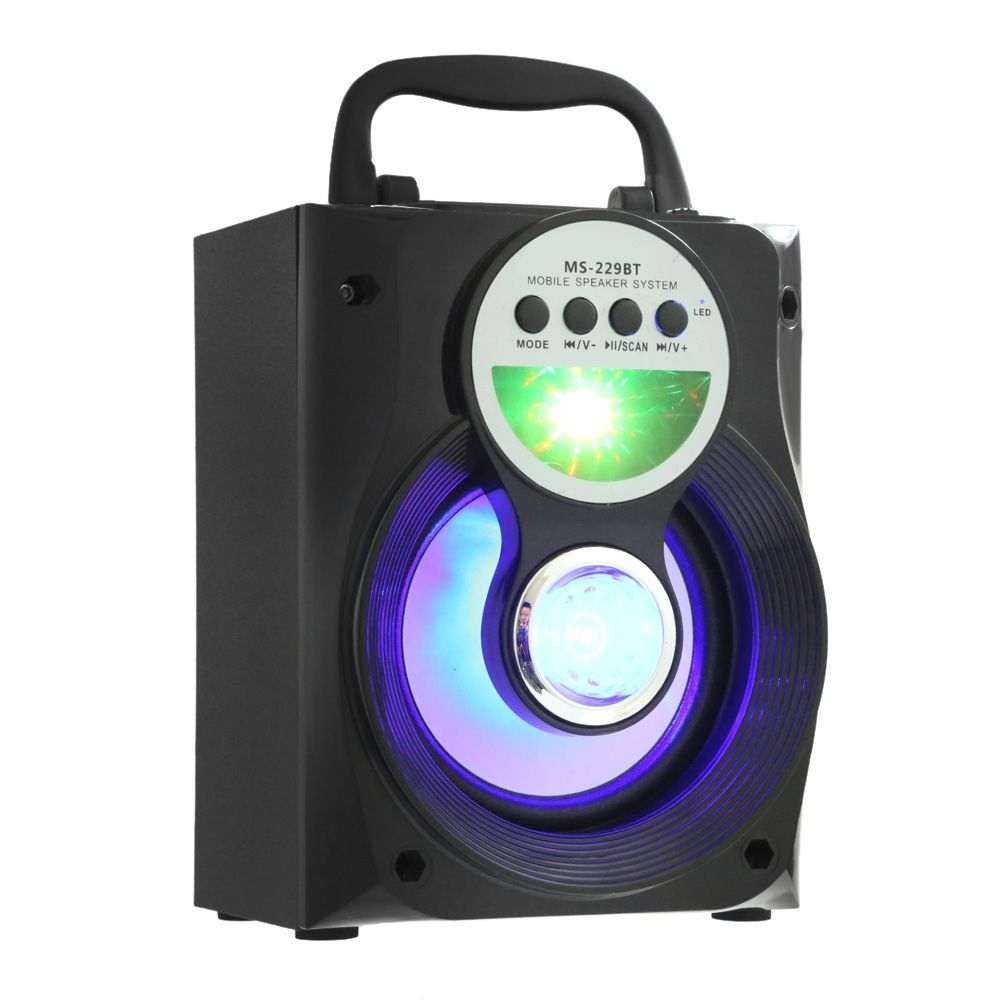 Wireless Portable Multi-functional Bluetooth Speaker Big Drive Unit Bass Colorful Backlight FM Radio Support AUX USB 3.5mm
