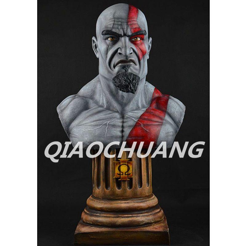 Kratos Statue Der sohn von Zeus 1:1 (LEBEN GRÖßE) fehlschlag God of War Half-Length Foto Oder Porträt Harz Sammeln Modell Spielzeug Boxed