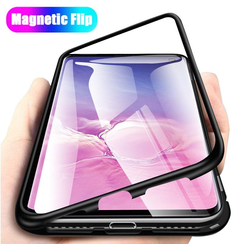 Adsorption Magnet Flip Case for Samsung Galaxy S10 Plus Case Magnetic Metal Clear Tempered Glass Cover for Samsung S10e A50 S 10