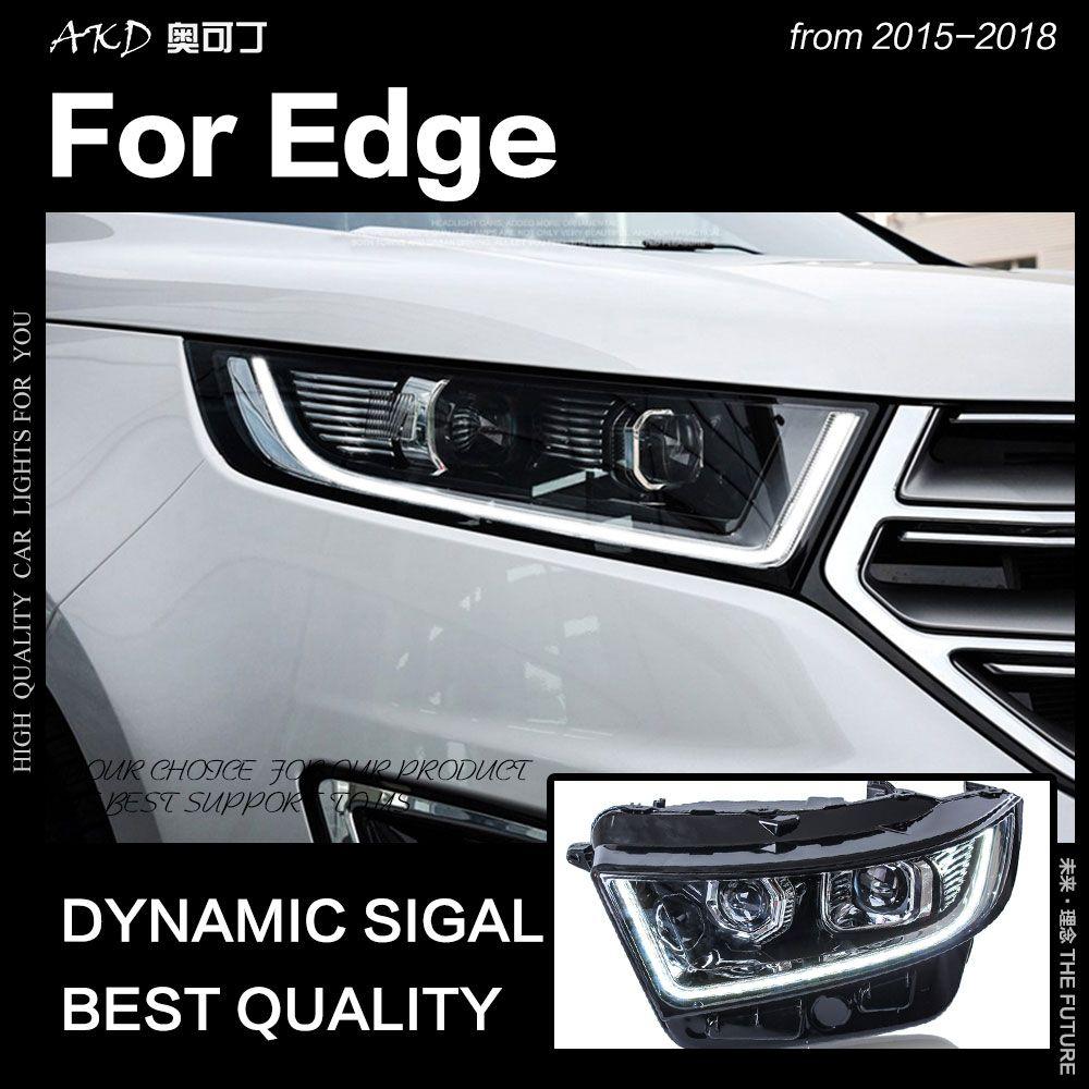 AKD Car Styling for Ford Edge Headlights 2015-2018 New Edge LED Headlight DRL Hid Head Lamp Angel Eye Bi Xenon Beam Accessories