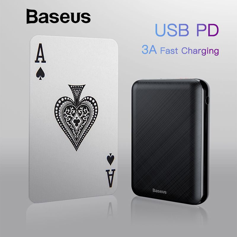 Baseus 10000 mAh USB PD 3A Schnelle Lade Power Bank Für iPhone Xs Xs Max USB Aufladen Power Für Samasung xiaomi Huawei Bank