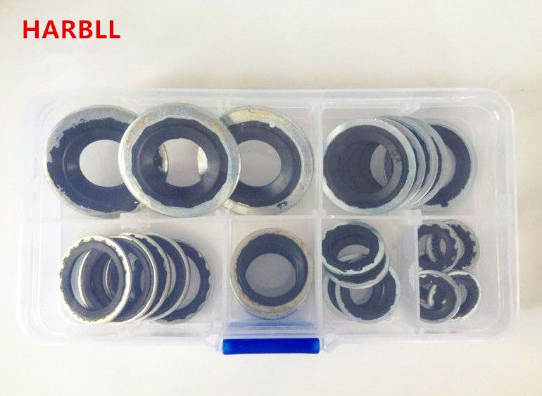 HARBLL 28PCS automotive air conditioning compressor gaskets, R134a Car air conditioning compressor repair box