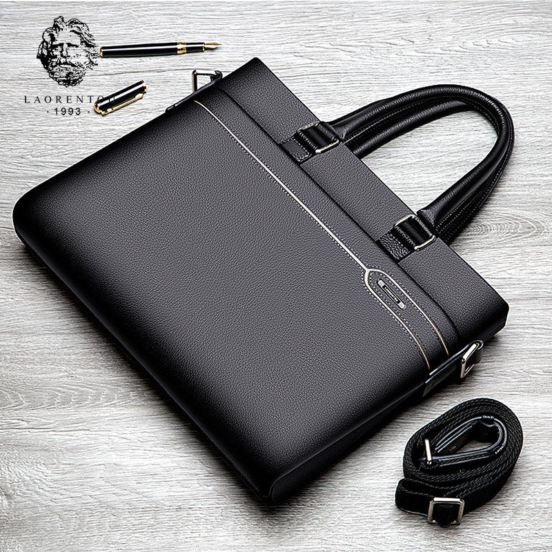 Laorentou Business Briefcase Men Genuine Leather Handbag Work Shoulder Messenger Bags Top Quality Real Leather Crossbody Bag
