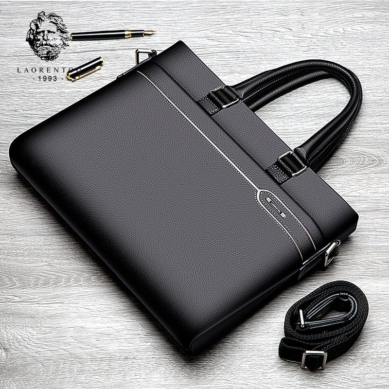 Laorentou Business Briefcase Men Genuine Leather Handbag Work Shoulder Messenger Bags Top <font><b>Quality</b></font> Real Leather Crossbody Bag
