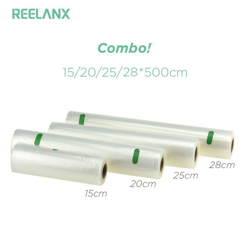 REELANX Vacuum Bags for Vacuum Packer 4 Rolls/Lot 15+20+25+28 * 500cm Storage Bag for Food Vacuum Sealer Packing Packaging