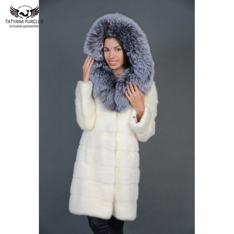 Tatyana Furclub Nerz Pelzmantel Luxus Volle Pelt Natürlichen Nerz Pelz Jacke Mit Silber Fuchs Pelz Haube Hoodie Weiß Pelz winter Outwear