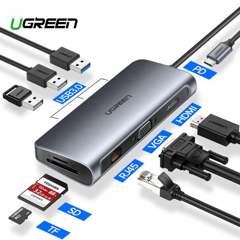 Ugreen USB HUB USB C à HDMI RJ45 Thunderbolt 3 adaptateur pour macbook Samsung Galaxy S10 Huawei Compagnon 20 P20 Pro Type C USB 3.0 HUB