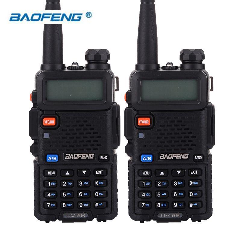 BaoFeng 2pcs UV-5R Walkie Talkie Two Way Radio 128CH 5W VHF 136-174Mhz & UHF 400-520Mhz