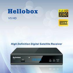 Hellobox V5 Penerima Satelit DVBS2 IPTV untuk Cccam Fungsi Online Upgrade Perangkat Lunak Dukungan Newcam Mgcam Penipuan 2 Tahun TV Box