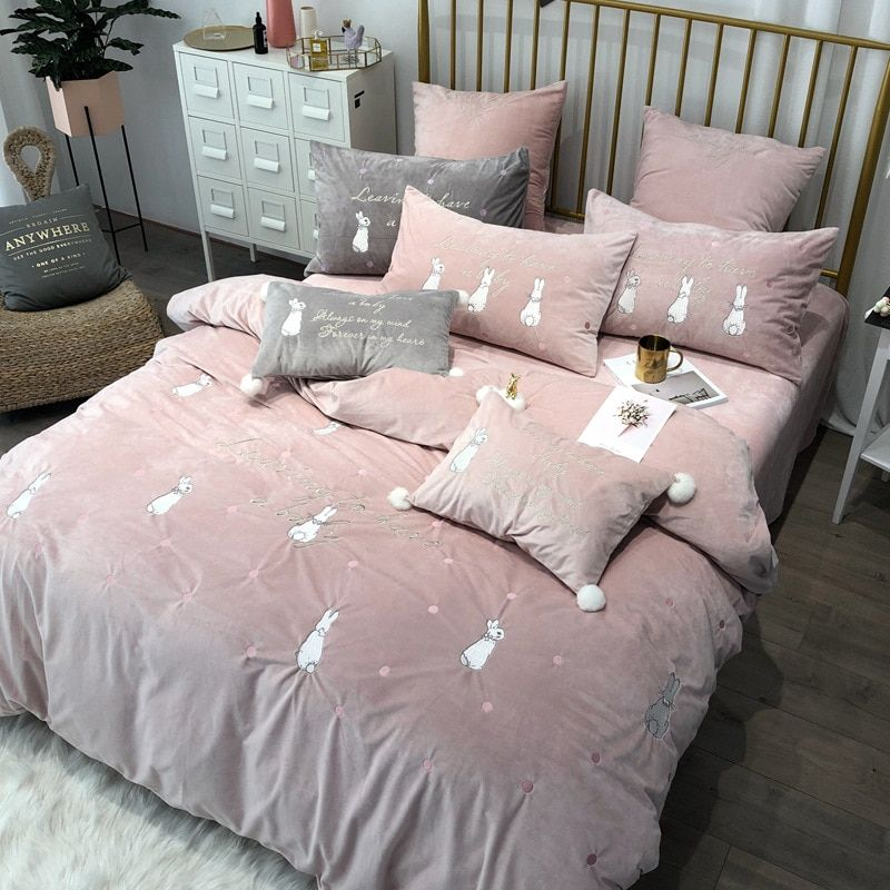 New coral fleece embroidered bedding set RUIYEE brand rabbit embroidery 4/5/6/7pcs bed set quilt cover sheets pillowcase