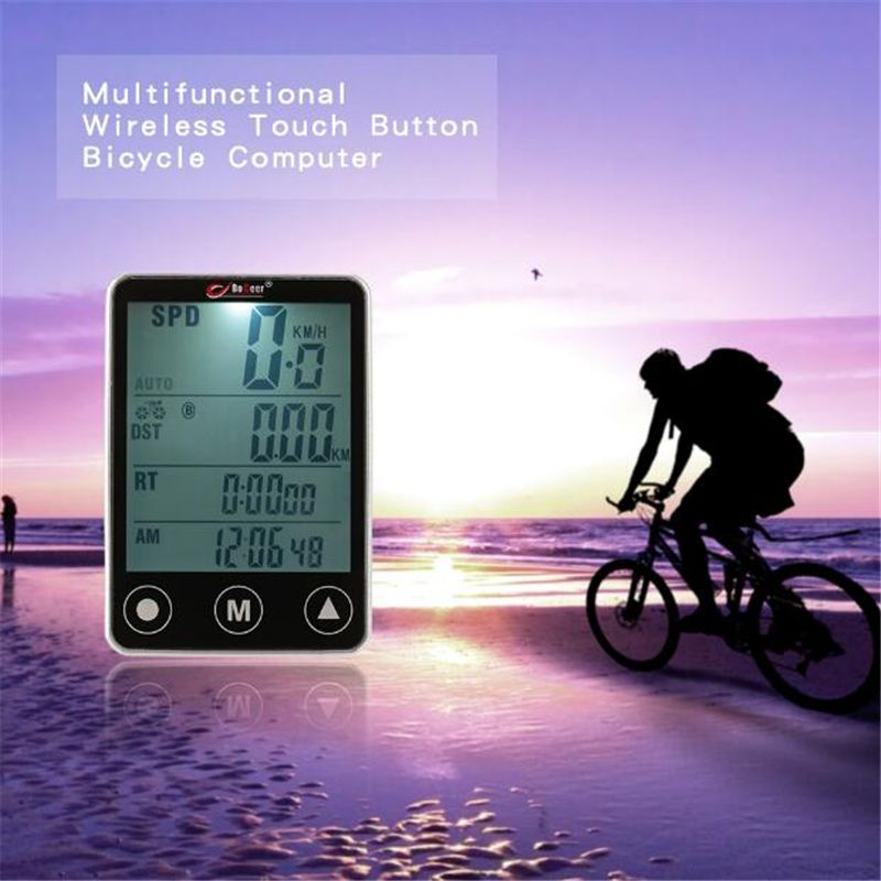 Wireless Bicycle Computer Cycling Bike Stopwatch Sensor Waterproof with LCD Display <font><b>Odometer</b></font> Speedometer LED Backlight