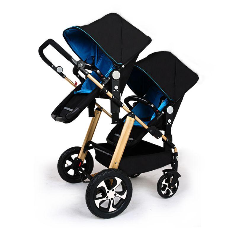 Twins baby Stroller Carton two seats Baby cart golden frame black basis Light Folding baby Carriage Face Mum Pram