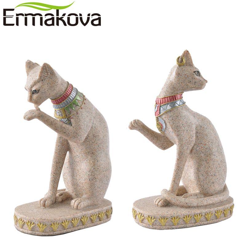 ERMAKOVA Sandstone Bastet Statue Egyptian Cat God Figurine Cat Ancient Egypt Natural Sandstone Craft Sculpture Home Desk Decor