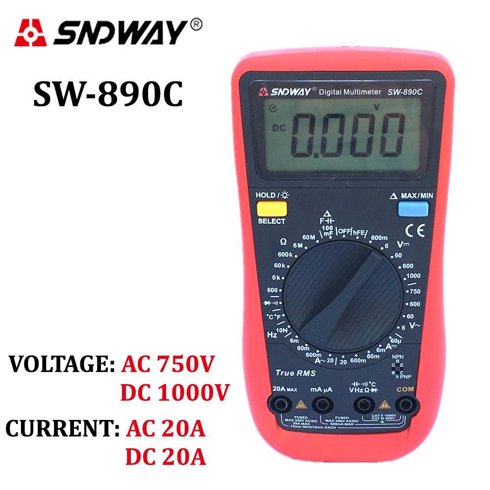 SNDWAY Numérique Multimètre TrueRMS ACDC tension actuelle ampèremètre voltmètre ohm résistance capacité fréquence température testeur