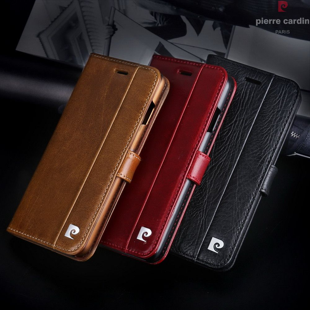 Pierre Cardin Brand For Apple iPhone 8 7 Plus Phone Case Genuine Leather Magnetic Book Style Flip Stand Wallet Card Holder Cover