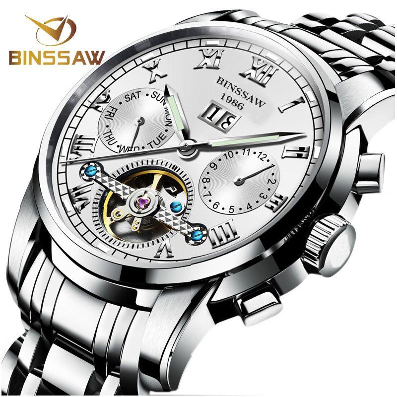 BINSSAW Männer Automatische Mechanische Uhren Tourbillon Marke Luxus Edelstahl Uhren Montre Homme Armbanduhr Reloj Hombre