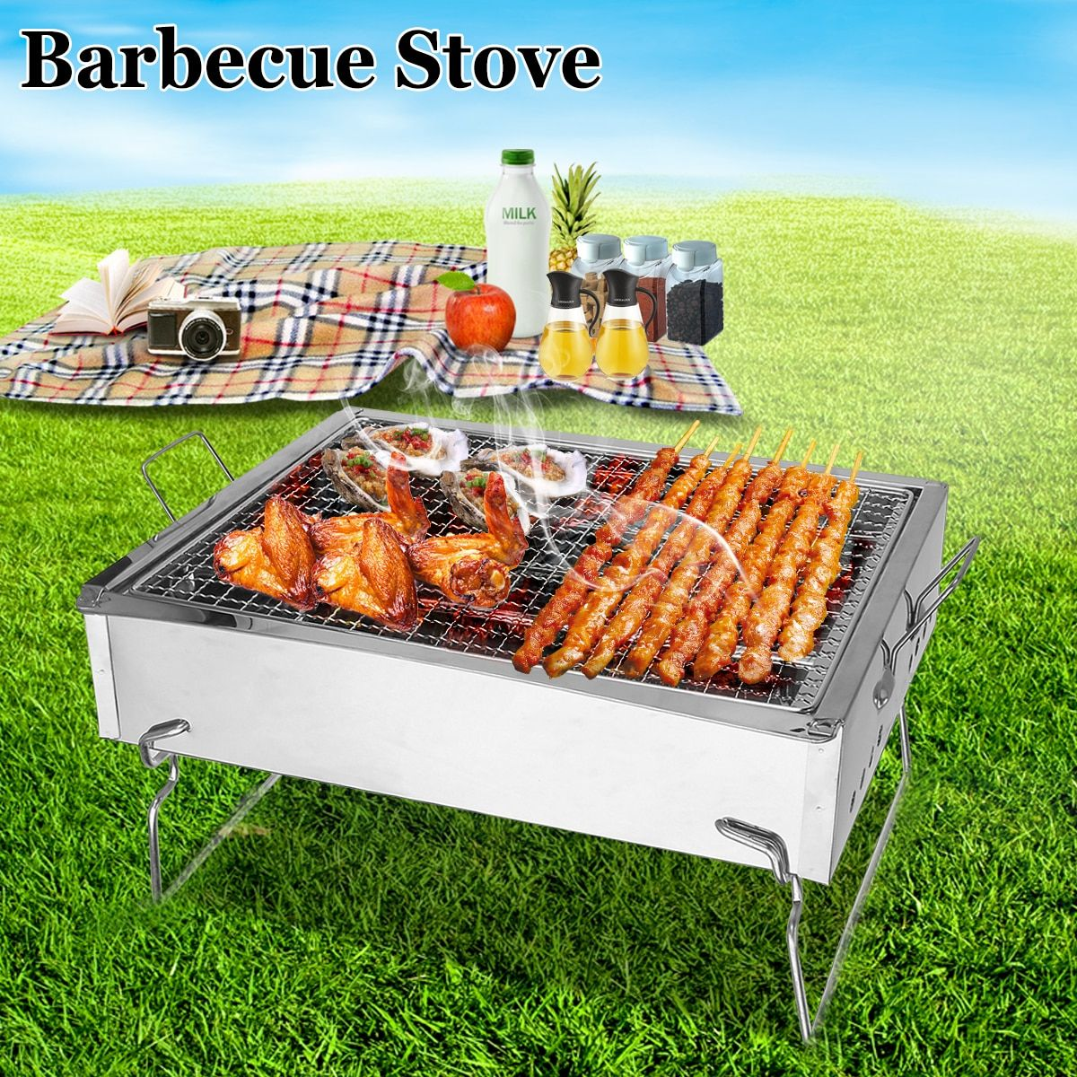 Portable Folding Stainless Steel Barbecue Stove Outdoor Picnic BBQ Grills Camping Outdoor Travel Cooker Charcoal Grills BBQ Tool