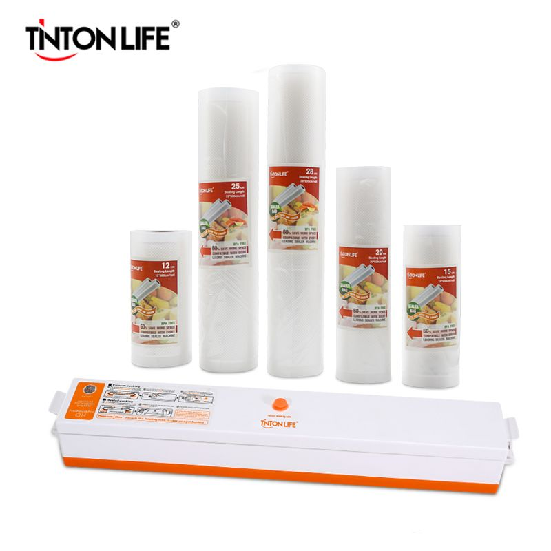 TINTON LIFE Vacuum Food Sealer With 5 Rolls Vacuum Sealer Bag(12X500cm,15X500cm,20X500cm,25X500cm,28X500cm)