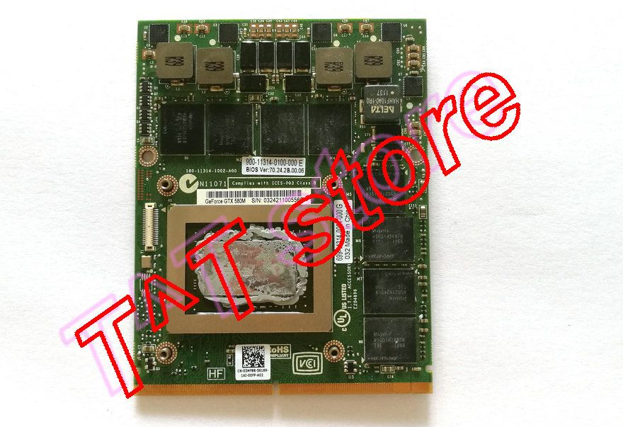 original GTX580M GTX 580M N12E-GTX2-A1 2G MXM GDDR5 3MF8R 03MF8R CN-03MF8R FOR M17X M18X Graphics VIDEO CARD free shipping