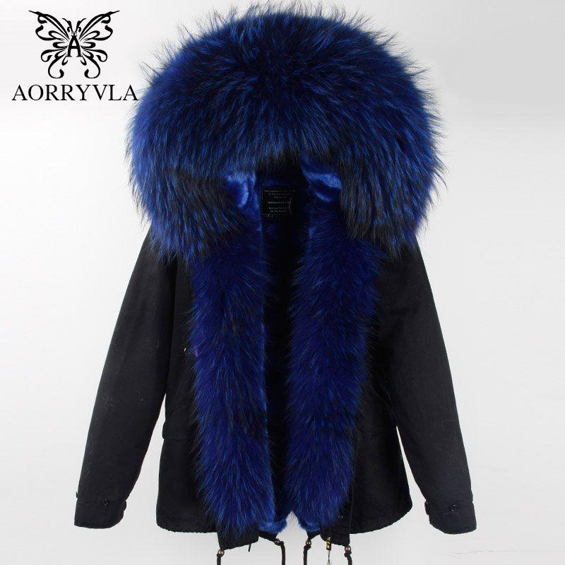 AORRYVLA 2017 Winter Women Real Fur Parka Short Colors Large Real Raccoon Fur Collar Hooded Coat Detachable Lining Winter Jacket