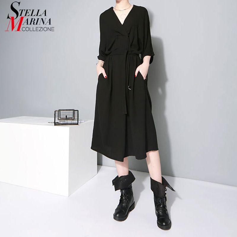 New 2018 European Fashion Women Black Office Lady Stylish Dress V Neck Half Sleeve Elegant Work Wear Midi Chiffon Dresses 1347