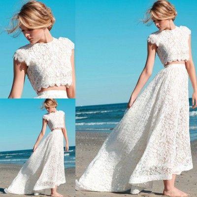 2019 été à la mode courte 2 pièce dentelle Hi-Lo robes De mariée romantique col rond Vestido thé longueur plage Robe De Mariage