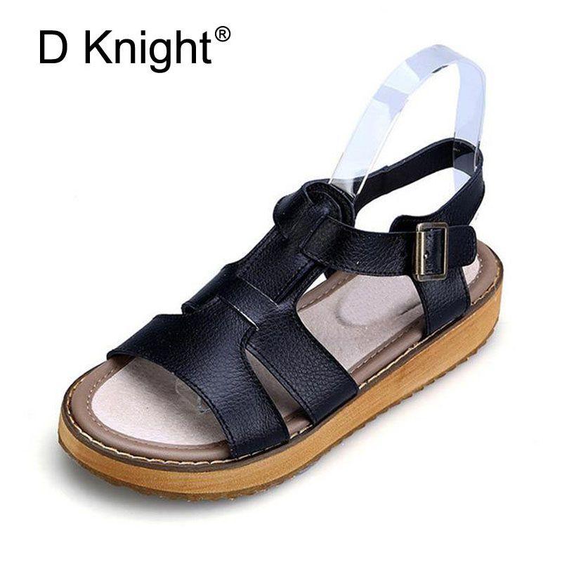 Femmes D'été de Plat Gladiateur Plate-Forme de Boucle Sandales 2017 de Causalité Noir Blanc Argent Grande Taille 34-45 Grand Sandalias chaussures Femmes