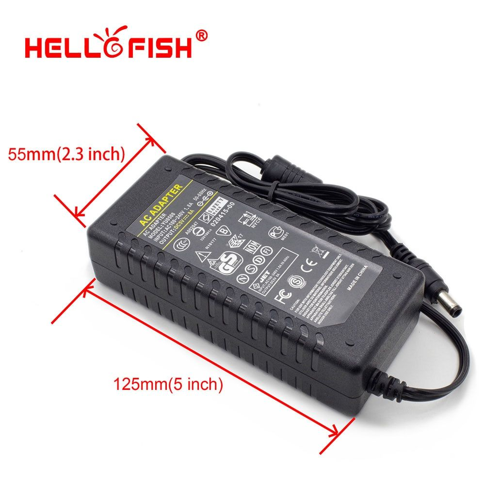Hello Fish 5V 8A 40W Power Adapter for WS2801/WS2812B LED Strips, WS2811 LED Modules Power Supply, Lighting Transformer
