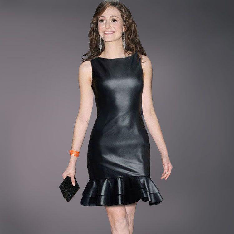 Femmes noir Faux cuir robe 2018 nouveau été élégant formel bal Club moulante soirée soirée sirène robes