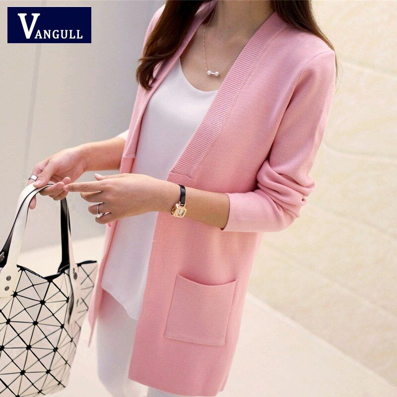 New High Quality Women Spring Autumn Medium-long Cardigan 2016 New female <font><b>elegant</b></font> pocket Knitted Outerwear Sweater Cape Top
