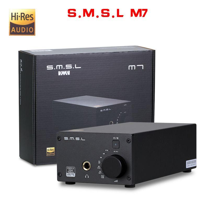 NEW SMSL M7 AK4452 * 2 32Bit/768KHz DSD512 Hifi Audio USB DAC with Amplifier XMOS LM4562 TPA6120A2 Headphone output